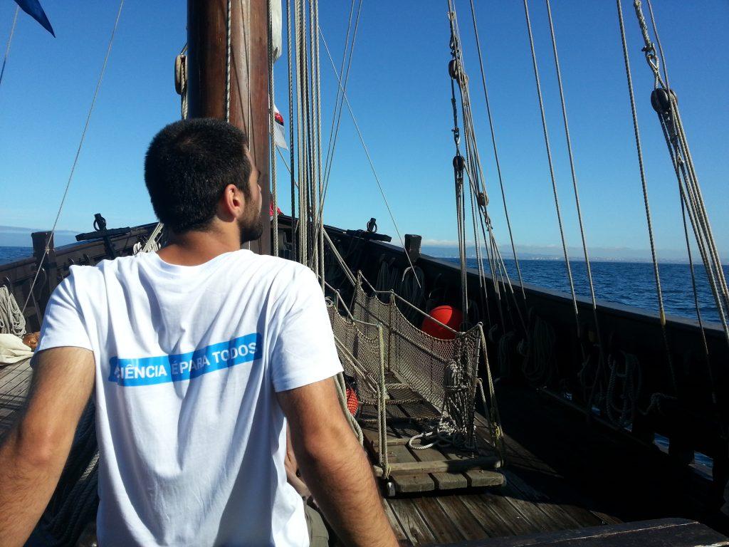 José Eduardo Oliveira Silva aboard the Vera Cruz.