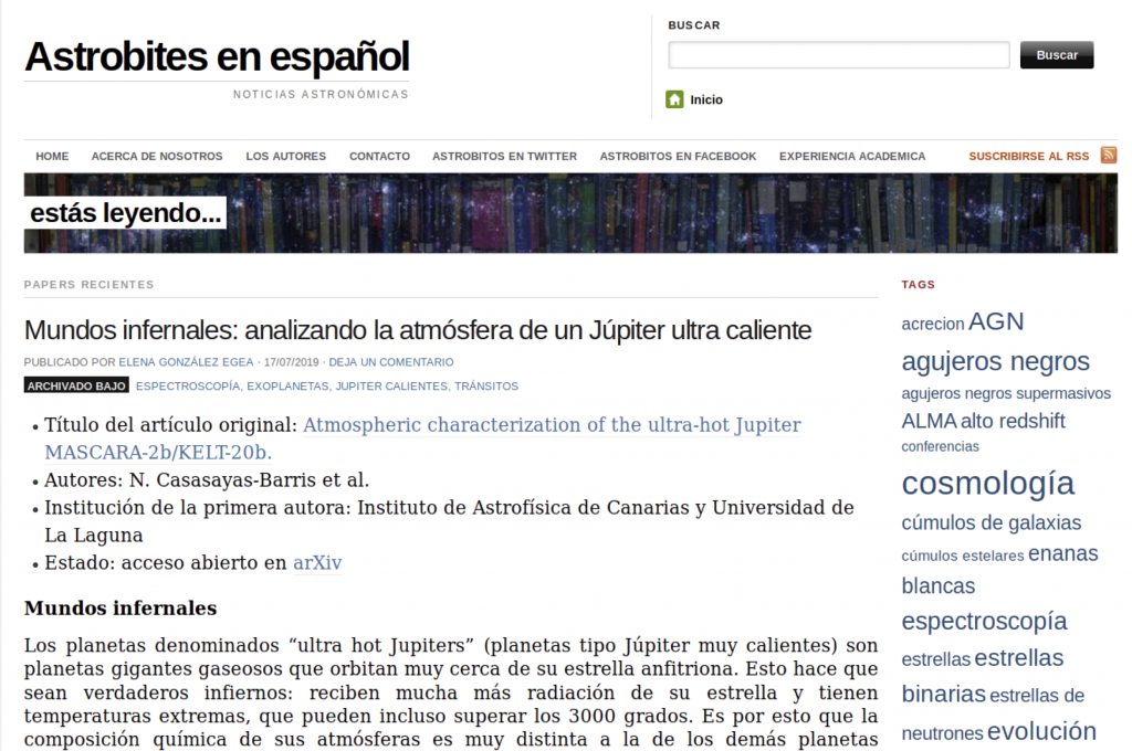 "Example Astrobites article in Spanish ""Mundos infernales"" by Elena González Egea"