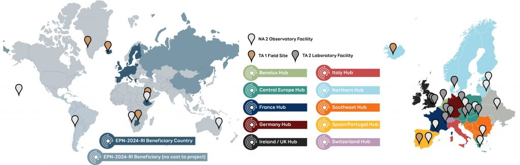Locations of Beneficiary Countries, TA facilities, NA2 Observatories in EPN-2024-RI and Europlanet Society Regional Hubs