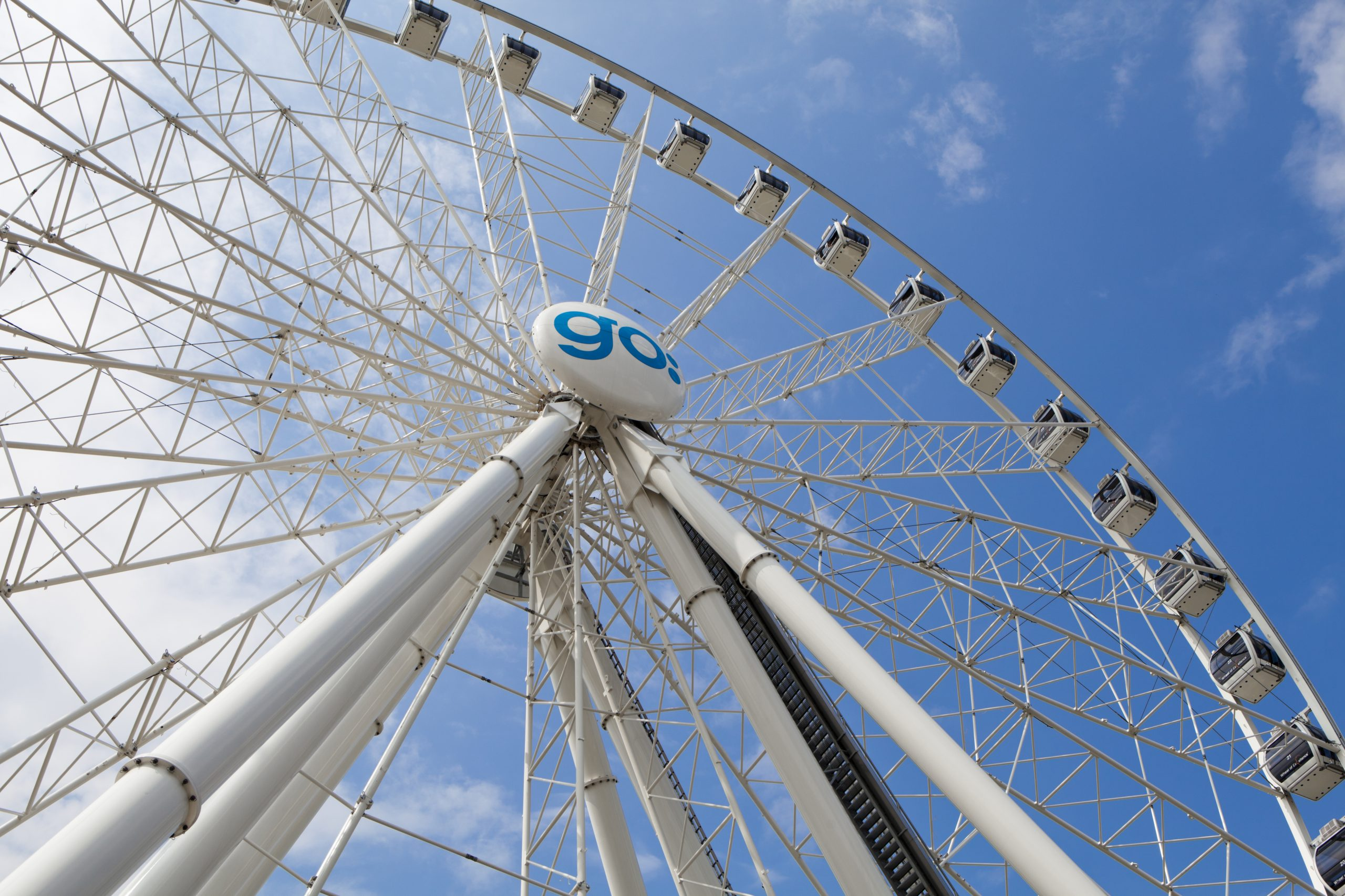 Göteborg, Sweden - July 3, 2011: Goteborgshjulet, located at Kanaltorget in Gothenburg, is a giant ferris wheel 60 metres tall. It has 42 pods.