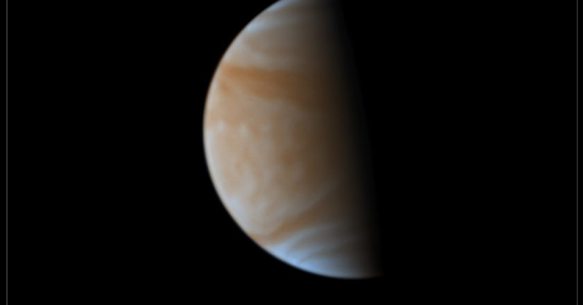 Venus observed from the Pic du Midi 1.05m telescope by a group of amateur astronomers in 2017 and processed by D. Peach.