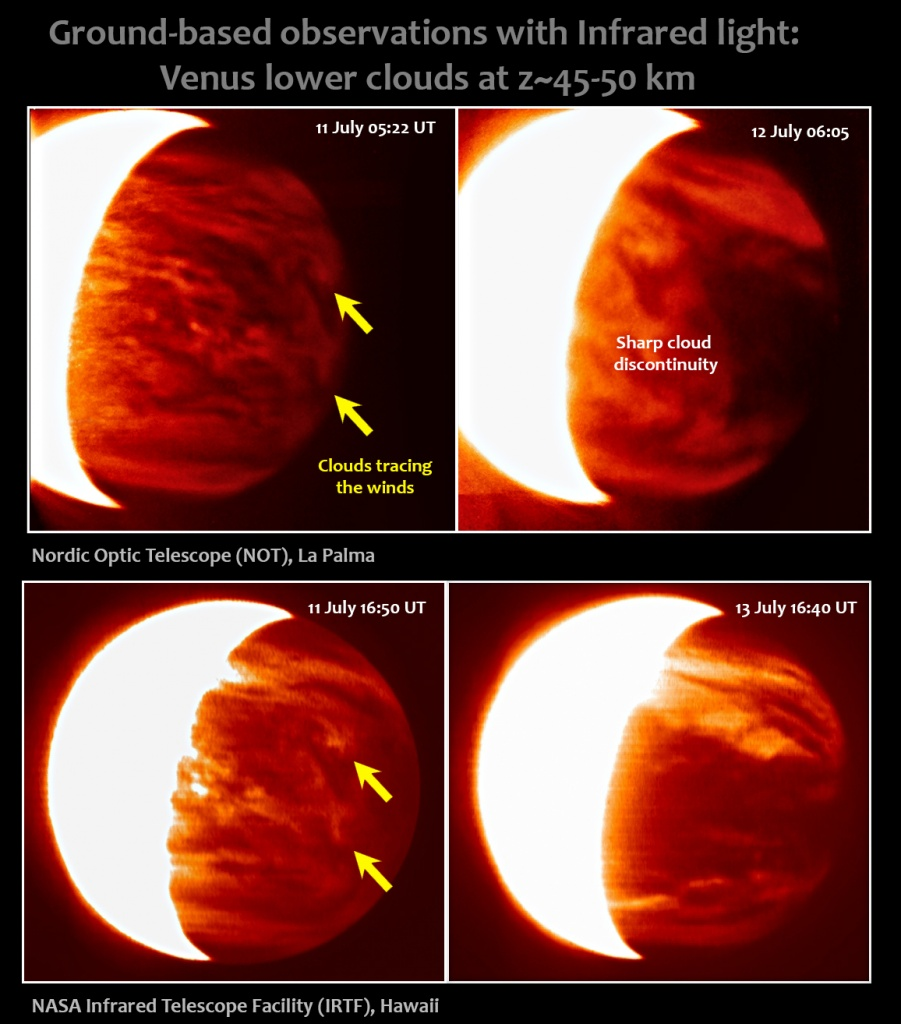Observations of Venus lower clouds in the night-side of the planet. Images from NOT acquired by J. Peralta (JAXA) and R. Baena (IAC). Images from IRTF acquired by E. Young (SwRI). These observations sampled the middle atmosphere at roughly 45-50 km altitude above the surface. Credit: NOT/ NASA, IRTF