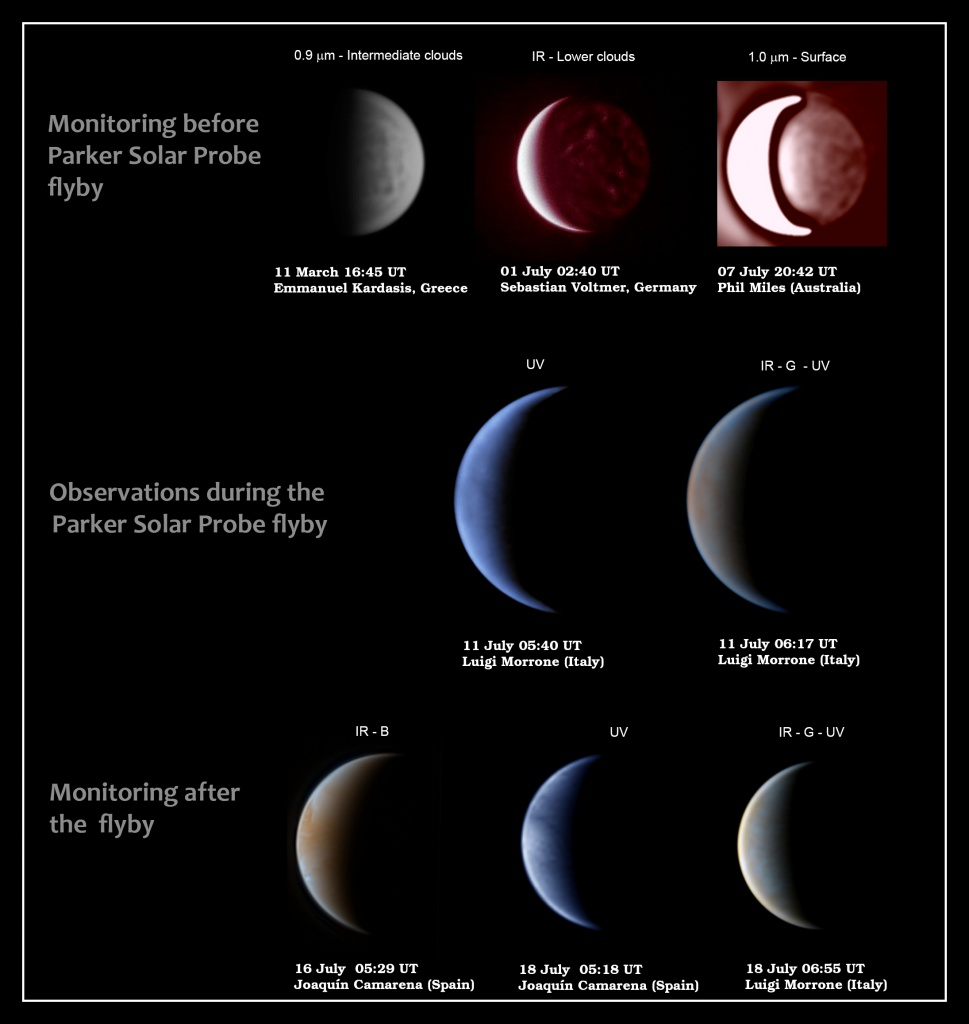 Selection of amateur observations of Venus before, during and after the Parker Solar Probe flyby. These observations sampled Venus atmosphere from the surface to the upper clouds. These and many other amateur images are available at the PVOL database http://pvol2.ehu.eus. Credit: Emmanuel Kardasis/Sebastian Voltmer/Phil Miles/Joaquin Camarena/Luigi Morrone
