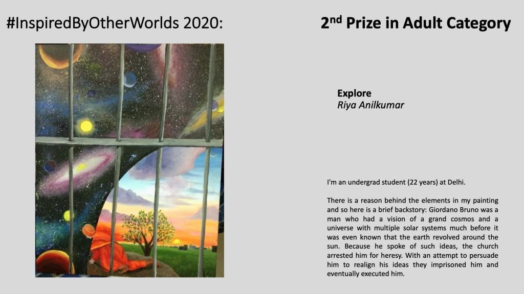 2nd Prize in #InspiredByOtherWorlds Arts Contest (Judges Choice, Adult Category): Explore by Riya Anilkumar