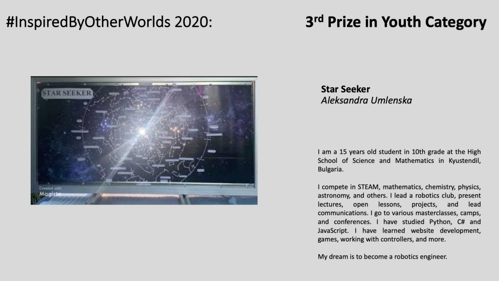 3rd Prize in #InspiredByOtherWorlds Arts Contest (Judges Choice, Youth Category): Star Seeker by Aleksandra Umlenska