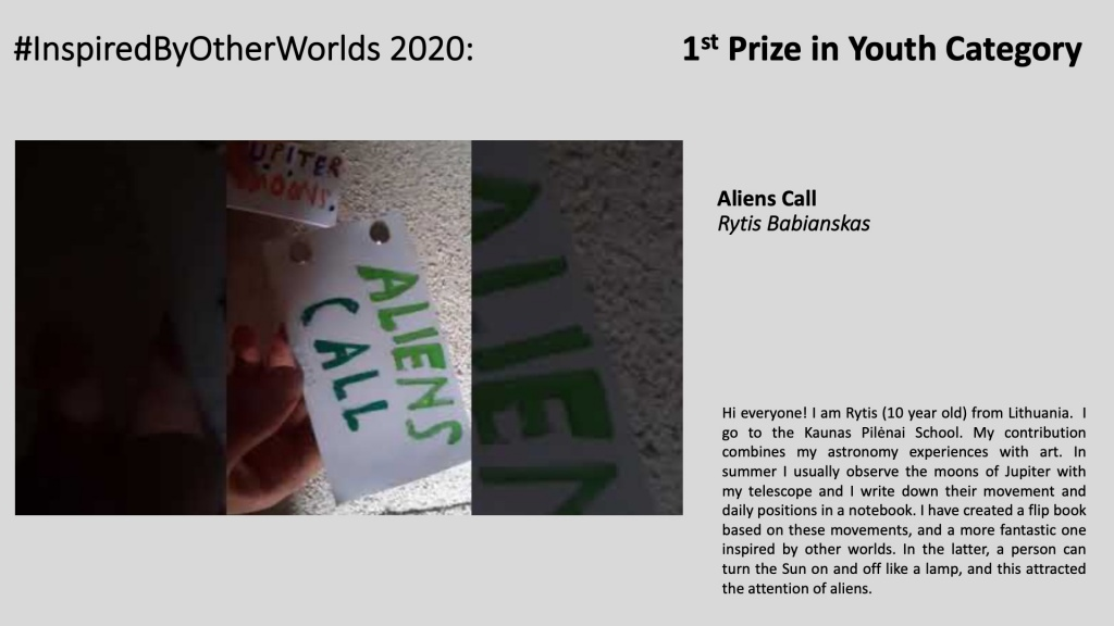 Winner of #InspiredByOtherWorlds Arts Contest (Judges Choice, Youth Category): Aliens Call by Rytis Babianskas
