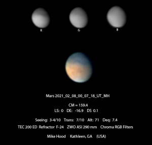 Mars image from PVOL database. Image taken on 8 February 2021 by Mike Hood in Kathleen, Georgia, USA.