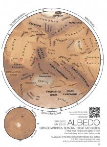 Albedo Map from the Pocket Atlas of Mars 36.