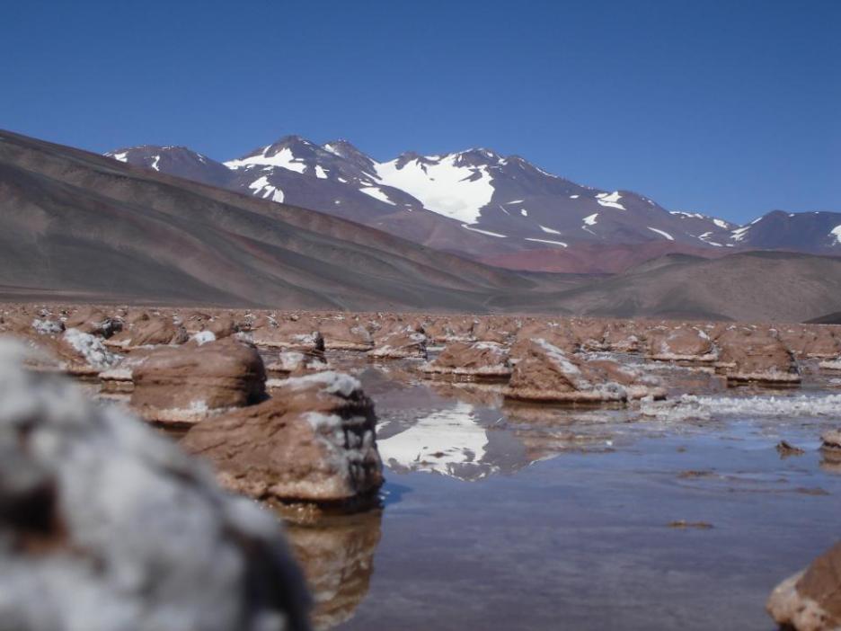 TA1.6: Microbial carbonates, partially exposed, Laguna Negra (Catamarca, Argentina)