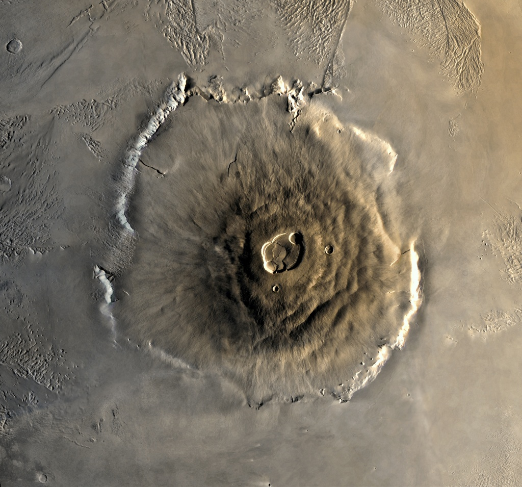 Olympus Mons, the largest volcano in the Solar System. Credit: NASA