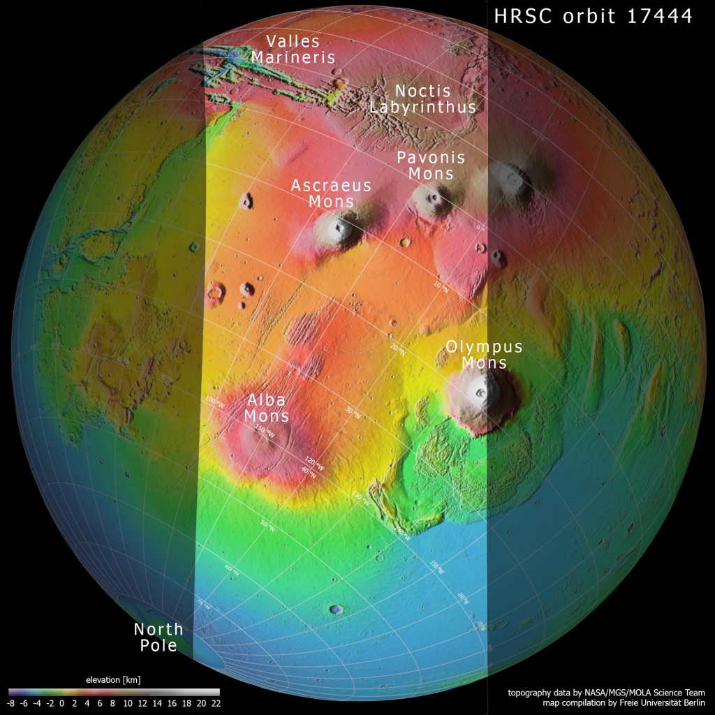 Topography of the Tharsis region on Mars