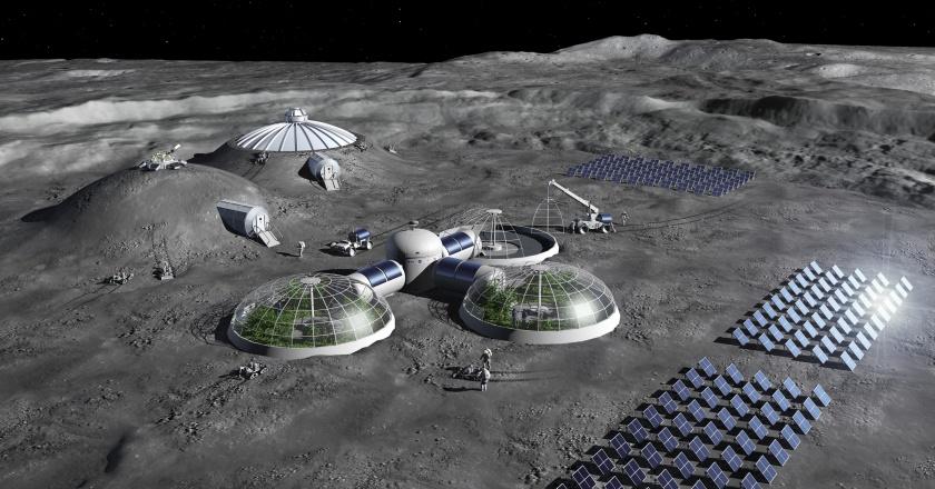 Artist impression of a Moon Base concept. Credit: ESA - P. Carril