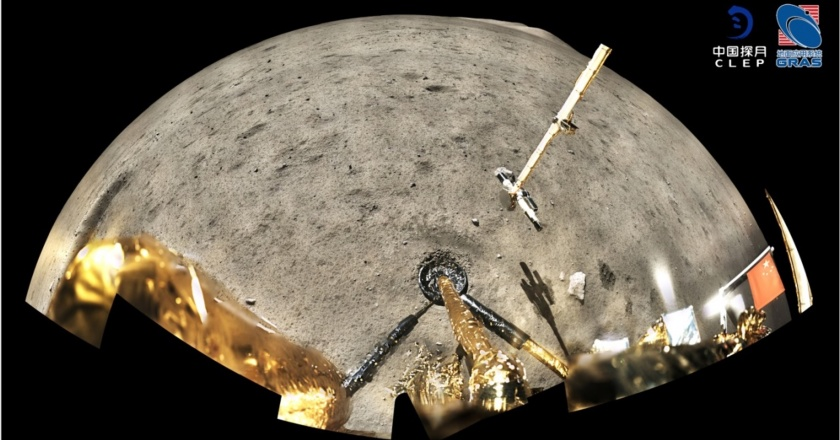 Panoramic image taken after sampling of the lunar surface by Chang'e-5. The four dark trenches in the lower right corner of this image are where samples were collected. Abundant centimetre-sized boulders exist on the surface around the Chang'e-5 landing site. Credit: CNSA (China National Space Administration) / CLEP (China Lunar Exploration Program) / GRAS (Ground Research Application System).