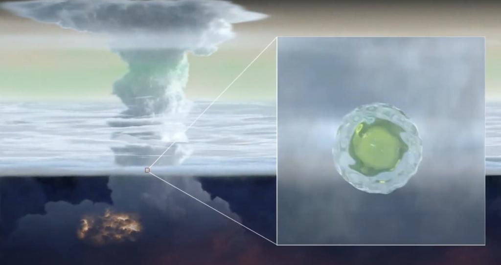 Artist's impression of a mushball descending through a giant planet's atmosphere. Credit: NASA/JPL-Caltech/SwRI/CNRS