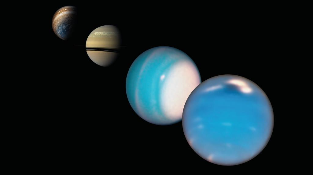Composite image of Neptune, Uranus, Saturn and Jupiter.  Credits: Jupiter from Juno: NASA/SwRI/MSSS/Gerald Eichstädt/Seán Doran; Saturn from Cassini: NASA/JPL-Caltech/Space Science Institute; Uranus and Neptune from HST: NASA/ESA/A. Simon (NASA Goddard Space Flight Center), and M.H. Wong and A. Hsu (University of California, Berkeley).