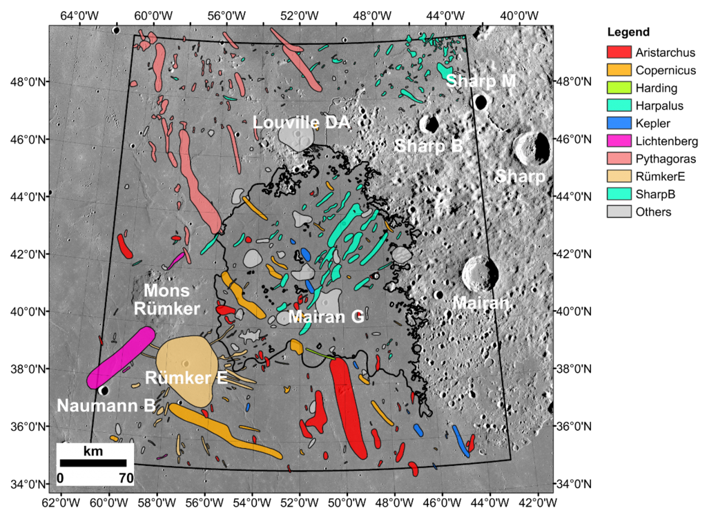 Image zooming in on the location of the Chang'e-5 landing site while showing nearby impact craters that were examined as possible sources of exotic fragments among the recently returned lunar materials. Credit: Qian et al. 2021