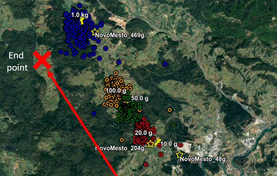 The coloured points on the map mark the area calculated to be where fragments of the space rock fell to the ground and could be searched so as to recover it. Credit: Denis Vida et al.