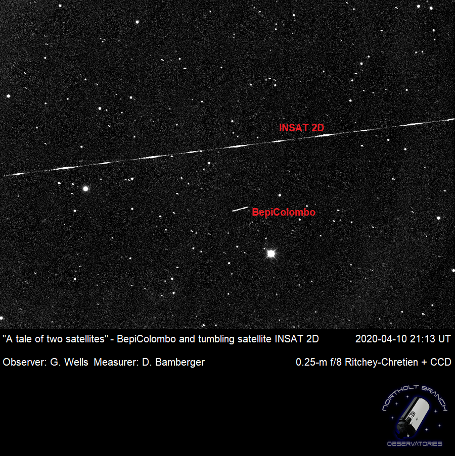 """Credit: Northolt Branch Observatories. A tale of two spacecraft"""": As we were observing BepiColombo, we caught a second man-made object passing by. We identify it as an old geostationary satellite."""